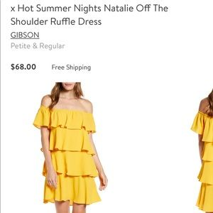 Gibson x Nord yellow ruffle off the shoulder dress